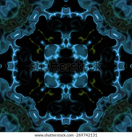 Abstract blue transparent science fiction texture made seamless - stock photo