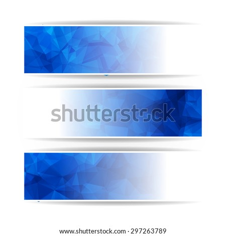 Abstract Blue Triangular Polygonal banners set - stock photo