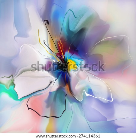 abstract blue violet creative flower - stock photo