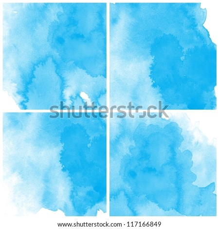 Abstract blue water color art background hand paint - stock photo