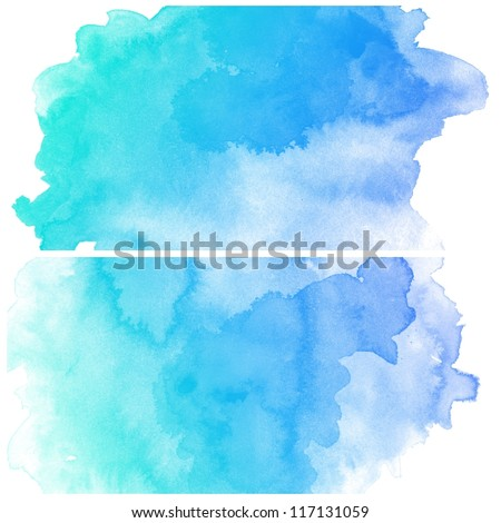 Abstract blue water color art background hand paint on white background - stock photo