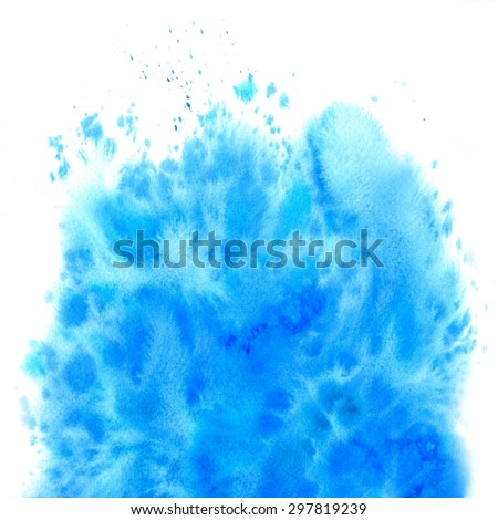 Abstract blue watercolor background. Aquarelle backdrop. Hand drawn watercolor stain. Raster version illustration