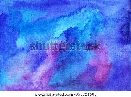 Abstract blue watercolor background. Hand painted backdrop. Ink illustration. Hand drawn watercolor ombre. Artistic watercolor background. Artistic brush painting.  - stock photo