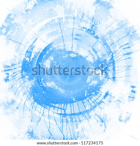 Abstract blue watercolor background, texture. - stock photo