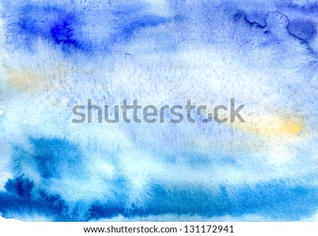 Abstract blue watercolor background with yellow spots - stock photo