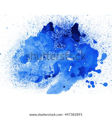 Abstract blue watercolor. Blot and water drops background. Aquarelle texture. - stock photo