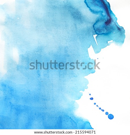 Abstract blue watercolor blot background. Aquarelle texture.