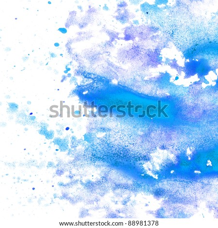 abstract blue watercolor blot texture patch  on white background - stock photo