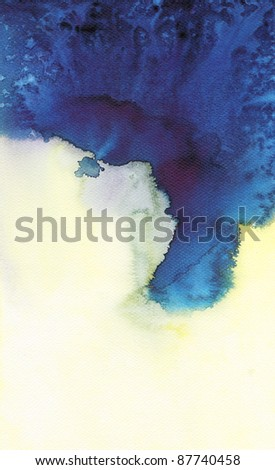 Abstract blue watercolor : flow wet on wet paper art - stock photo