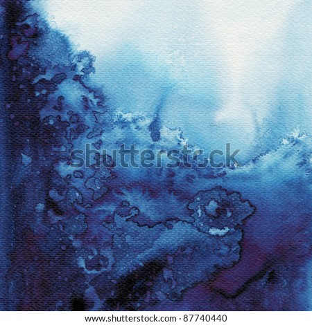 Abstract blue watercolor flow wet on wet paper : high resolution image - stock photo