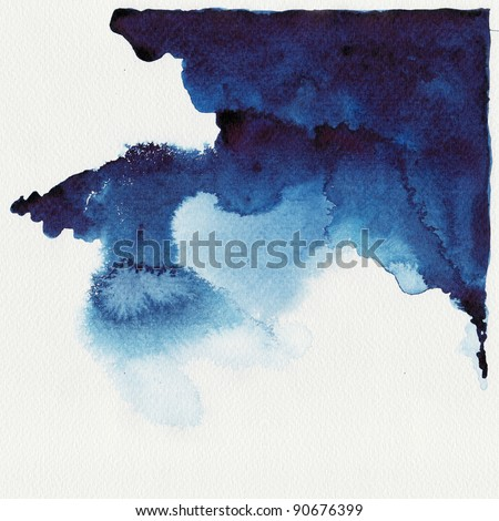 Abstract blue watercolor high resolution - stock photo