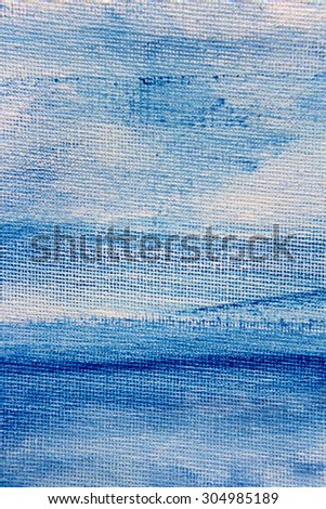 Abstract Blue Watercolor on Canvas 3 - stock photo