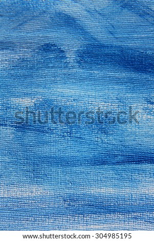 Abstract Blue Watercolor on Canvas 5 - stock photo