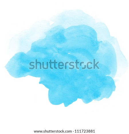 abstract blue watercolor on white background - stock photo