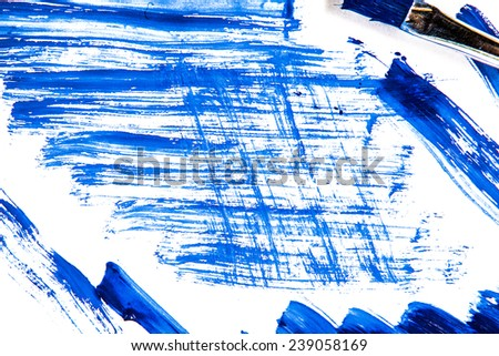 Abstract blue watercolor painted background with brush  - stock photo