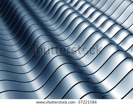 Abstract blue wave steel background 3d illustration - stock photo