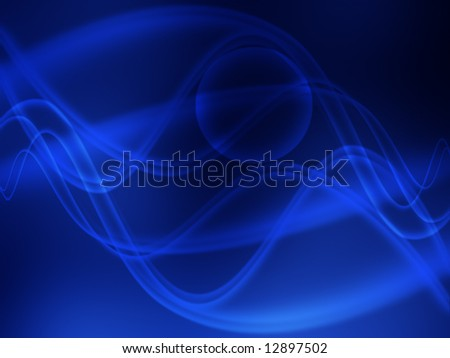 Abstract blue waves in motion - stock photo