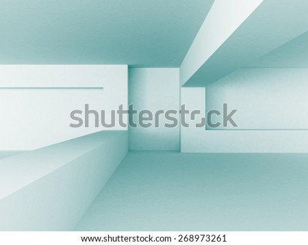 Abstract Blue White Architecture Construction Background. 3d Render Illustration - stock photo