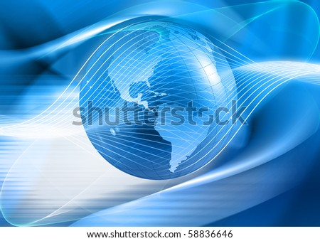 Abstract blue world background - stock photo