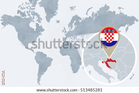 Abstract blue world map magnified croatia stock illustration abstract blue world map with magnified croatia croatia flag and map raster copy gumiabroncs Images