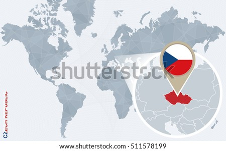 Abstract Blue World Map Magnified Czech Stock Vector - World map in czech language