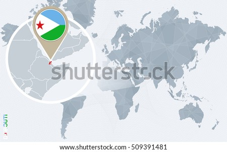 Abstract blue world map with magnified Djibouti. Djibouti flag and map. Raster copy.