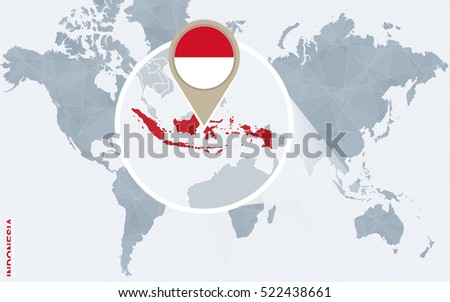 Abstract blue world map magnified indonesia stock illustration abstract blue world map with magnified indonesia indonesia flag and map raster copy gumiabroncs