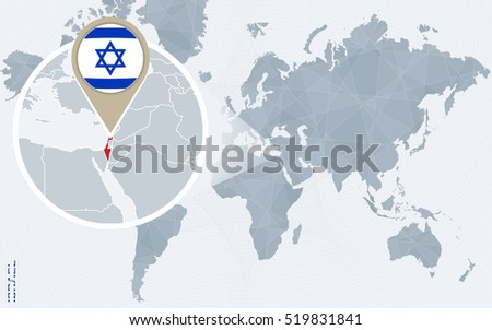 Abstract blue world map magnified israel stock illustration abstract blue world map with magnified israel israel flag and map raster copy gumiabroncs Gallery