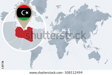Abstract blue world map magnified libya stock illustration 508112494 abstract blue world map with magnified libya libya flag and map raster copy gumiabroncs Gallery