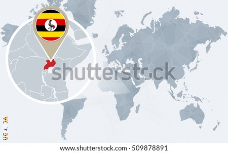 Abstract blue world map magnified uganda stock illustration abstract blue world map with magnified uganda uganda flag and map raster copy gumiabroncs
