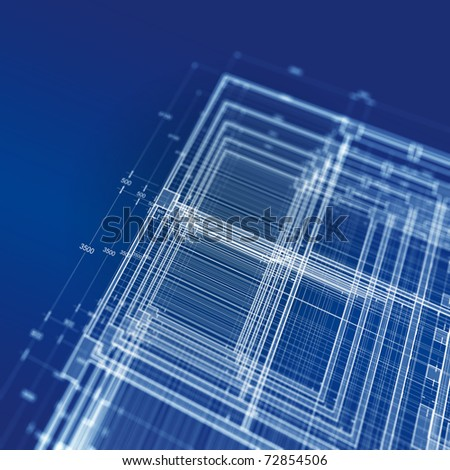 Abstract blueprint - stock photo