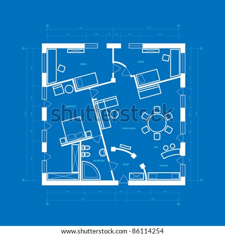 Abstract blueprint background in blue and white colors. Raster version. Vector version is also available. - stock photo