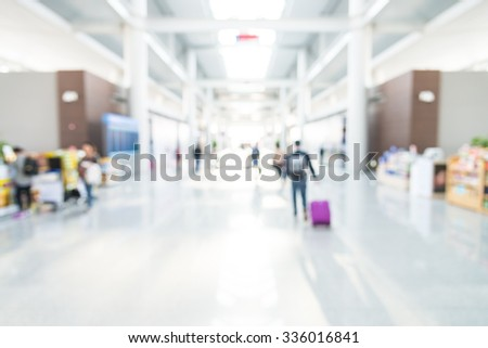 Abstract blur airport interior for background - stock photo