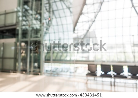 Abstract blur airport passenger interior for background - stock photo