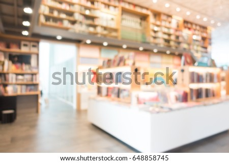 Abstract Blur And Defocused Library Book Store Interior For Background