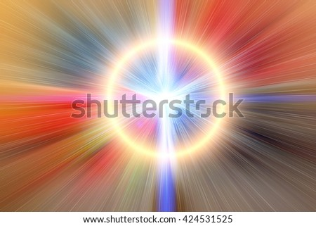 Abstract blur background. Light blue abstract wallpaper background. Horizontal lights. Flash - rays of light in the space of the sky. Radiance of light. Energy, aura, yoga, meditation, bokeh. - stock photo