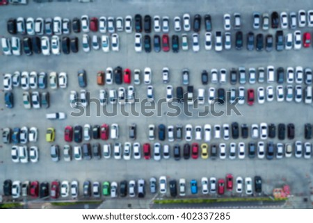 Abstract blur background of car parking, shallow depth of focus, top or aerial view - stock photo