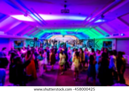 abstract blur background of wedding after party at night with nightclub style