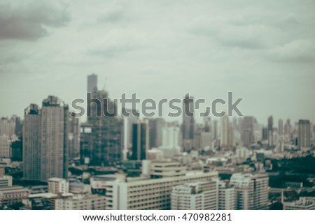 Abstract blur beautiful bangkok city skyline around chao phraya river in Thailand - Vintage Filter