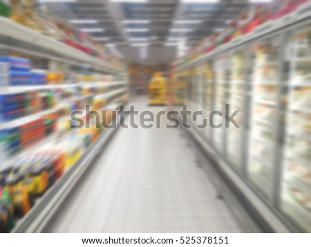 Abstract blur beautiful supermarket in shopping mall and retail store interior for background
