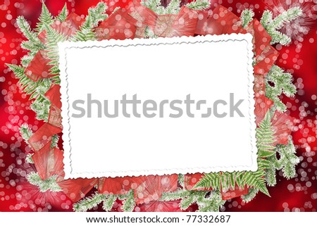 Abstract blur boke background with paper frame and bunch of twigs Christmas trees