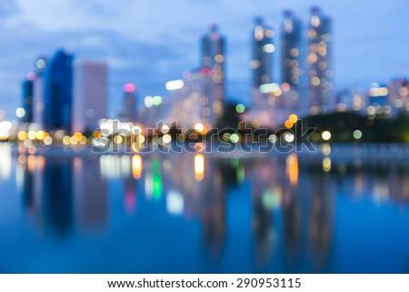 Abstract blur bokeh, city night lights background - stock photo