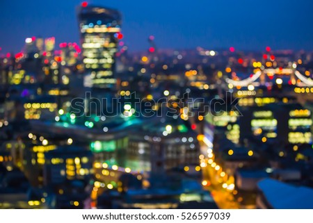 Abstract blur bokeh city of London night lights. Image for background.
