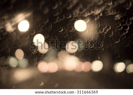 Abstract blur bokeh of traffic and car light on the road in the city - stock photo