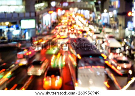 Abstract blur bokeh of traffic jam on road in the city - stock photo