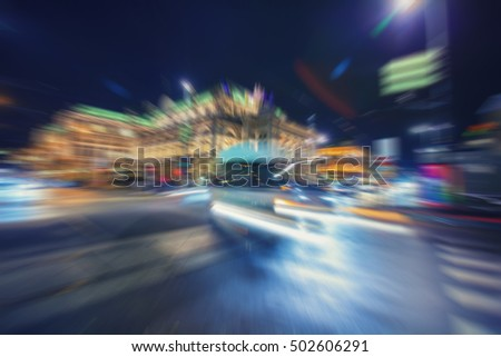 Abstract blur city night traffic background.