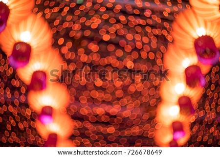 Abstract blur, defocused of Chinese lantern, Lunar new year festival.  Full of swirly bokeh.