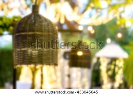 abstract blur lamp decoration tree outdoor garden - stock photo