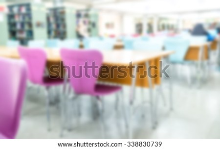 Abstract blur library interior reading room background - stock photo