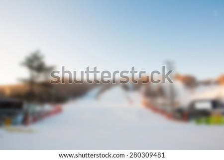 Abstract blur Mountain ski resort - stock photo